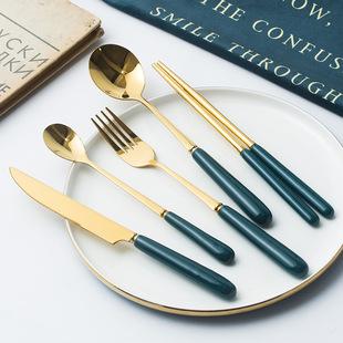 Nordic Creative Ceramic Fruit Fork Coffee Spoon Stainless Steel Tableware Mooncake Cutlery Dark Green Steak Cutlery Spoon