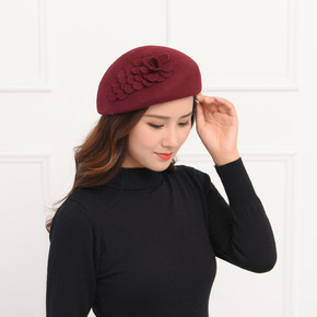 Hat, female woollen cloth, Belle hat, wool water drop parquet wool top hat
