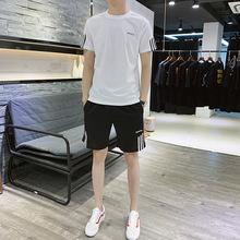 夏季運動套裝帥氣男短袖T恤晨跑速干運動時尚潮流五分短褲兩件套
