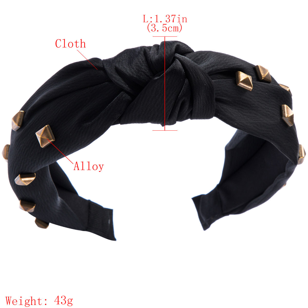 New alloy small square headband high-grade hair accessories knotted wide-brimmed fabric head buckle NHJE174417