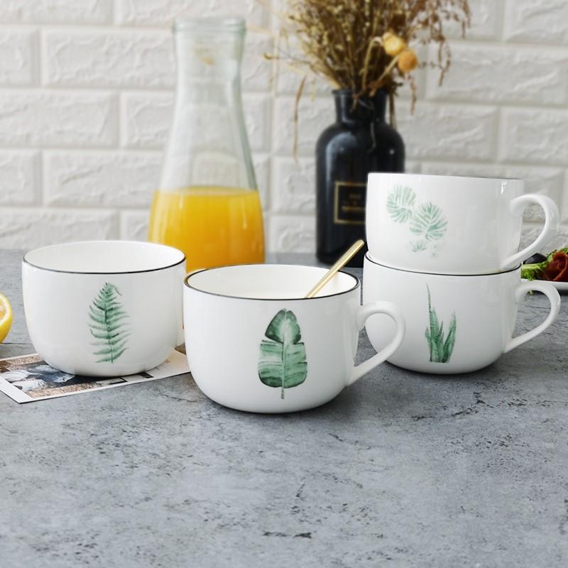 簡約牛奶杯燕麥綠植下午茶甜品家用早餐大容量小北歐風格帶把有手