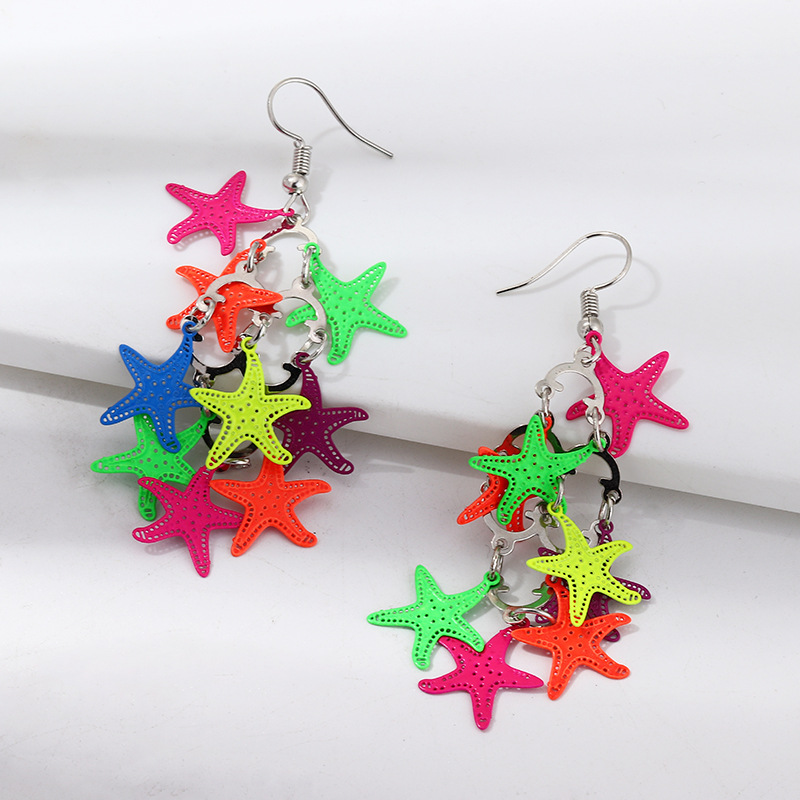 Jewelry Fashion Colorful Earrings Hollow Starfish Leaf Life Tree Print Earrings NHNZ195982