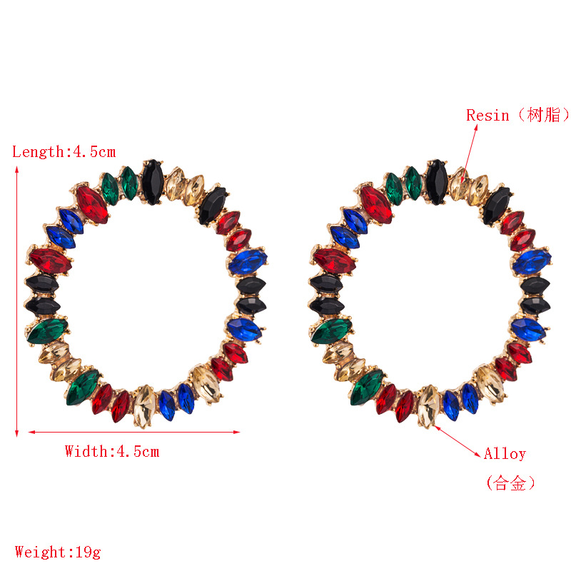 Large circle alloy with rhinestone color full diamond earrings female fashion earrings NHLN177048