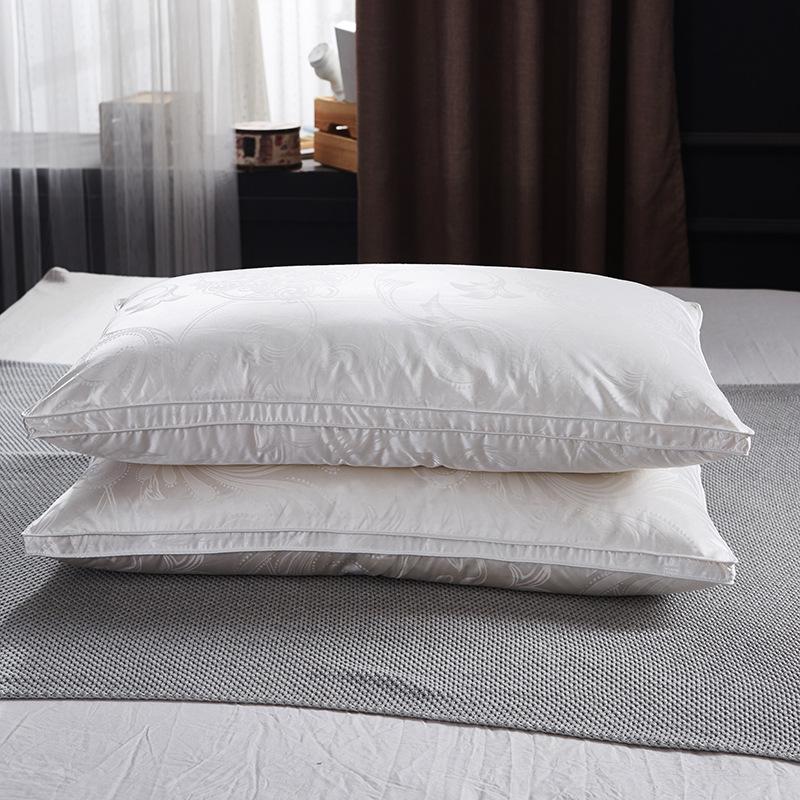 贝莉娅跨境全棉真丝提花立体羽绒枕头酒店白鹅绒纯棉家用枕芯代发
