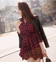 速賣通ebay外單出口秋冬款打底裙氣質收腰紅格子長袖連衣裙