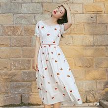 3808法式复古棉高腰复古草莓刺绣洛丽塔连衣裙 文艺少女长裙