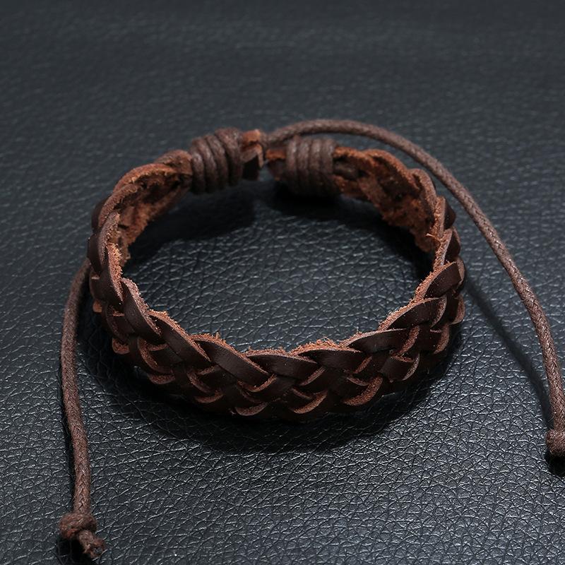 New accessories retro leather bracelet simple woven leather bracelet wholesale NHPK182366
