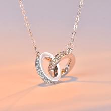 寶萊達 簡約韓版雙環相扣項鏈 s925純銀女飾品小紅書同款圓形吊墜