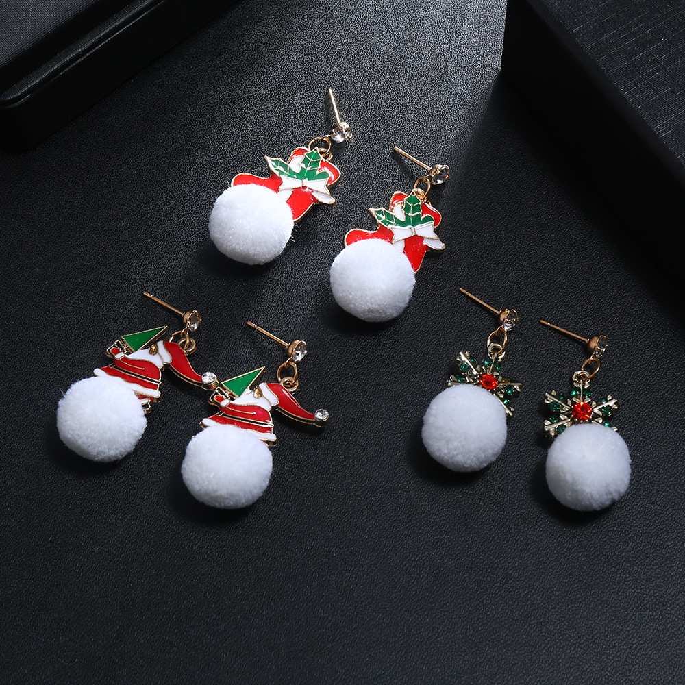 Christmas Cartoon Snowflake Santa Claus White Snowball Earrings NHNZ155584