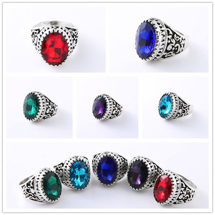Imitation Thai silver ethnic style dead mouth round crystal ring men's large alloy ring retro style imitation old silver
