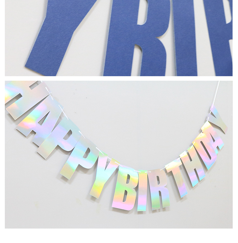 New laser birthday pull flag decoration party supplies letters happy birthday banner flags NHAH247444