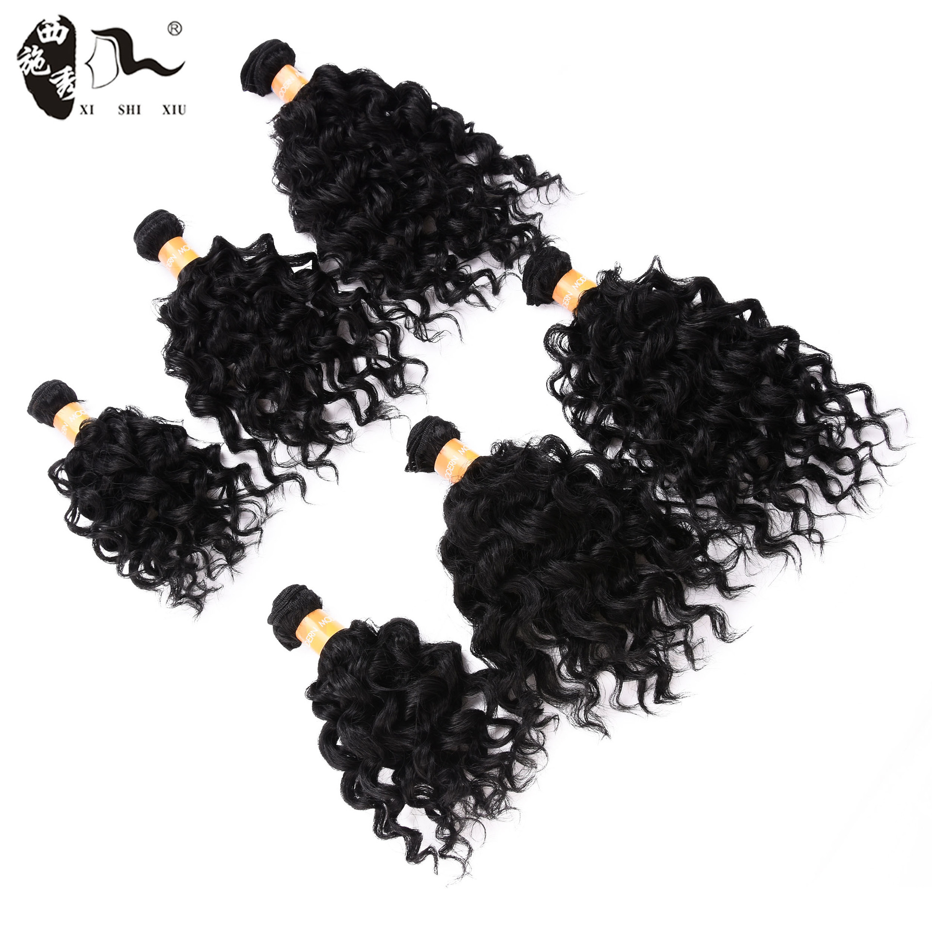 Factory direct sales Amazon European and American fashion wig female chemical fiber hair curtain 6 sets of African small roll traceless hair extension
