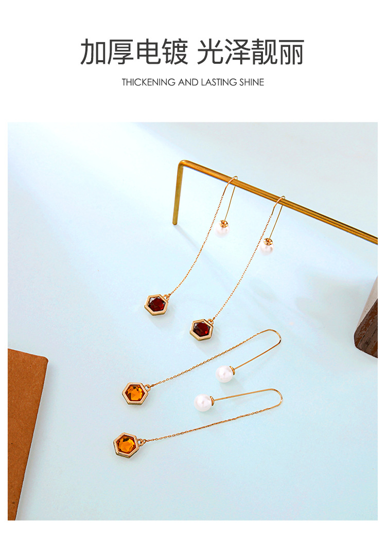 Womens Drop Shaped Rhinestone Alloy Earrings NHQD141850