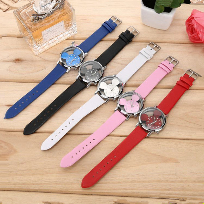 International trade popular double-sided hollow water drill scale belt student quartz watch children's Mickey Watch