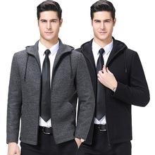 2019秋冬装青中年男式羊毛呢夹?#26494;?#21153;休闲带帽短款潮流茄克厚外套