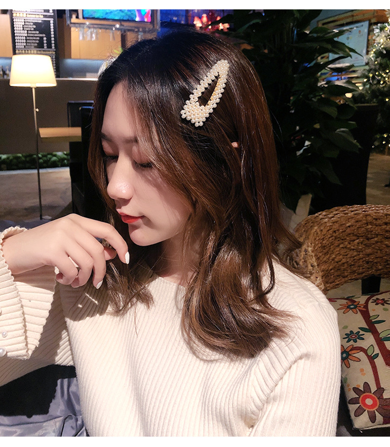 Pearl hair clip fashion set jewelry bangs clip hairpin Korean clip hair accessories wholesale nihaojewelry NHNA236456
