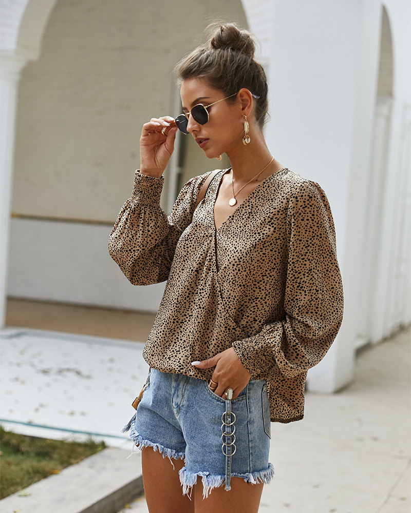 sexy women's spring and summer long-sleeved T-shirt shirt small floral top NSKA1061