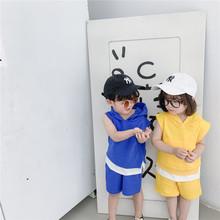 2019夏季新款男女童无袖连帽背心短裤套装儿童运动休闲两件套韩版