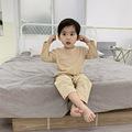 2019年夏季新款儿童纯色空调衫棉男童家居服睡衣套装一件代发