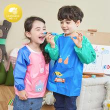 韩国新品儿童画画衣男女童反穿衣防水耐污环保卡通可爱罩衣秋冬