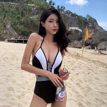 韩国官网正品代购misslady性感镂空da牌设计感拼色显瘦连体比基尼
