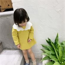 莎寶兒女童連衣裙2019秋季新款韓版童裝白色花邊領中小童長袖裙子