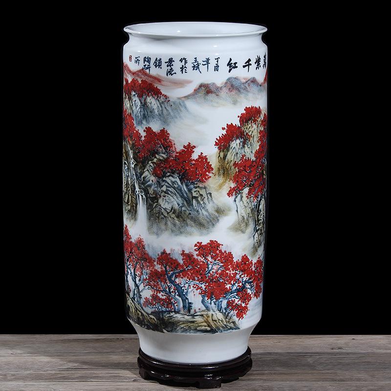 景德镇大师手绘万紫千红落地大箭筒书房笔筒字画缸陶瓷大花瓶摆件