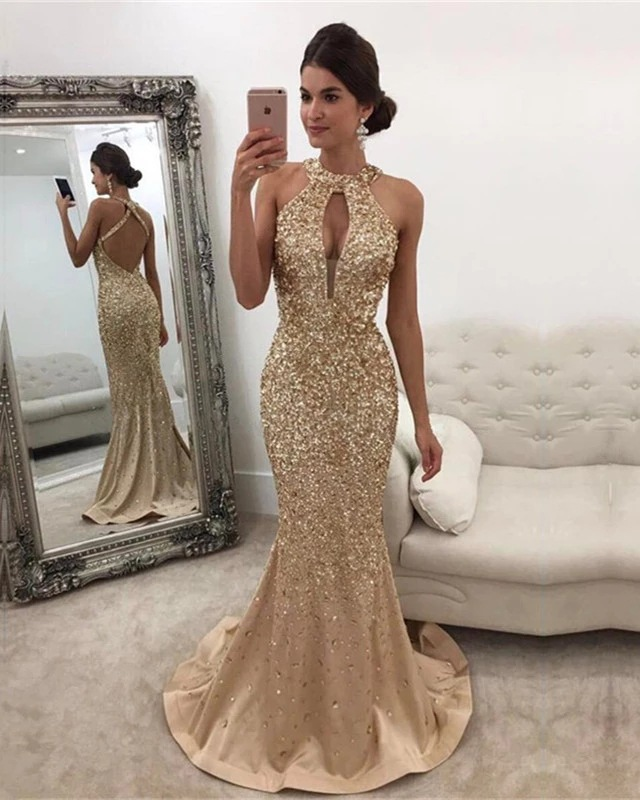 Sequined Round Neck Backless Dress Winter European And American