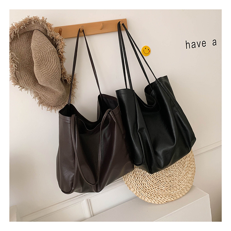 Solid color shoulder bag simple fashion personality large capacity soft leather tote bag wholesales fashion NHPB178650