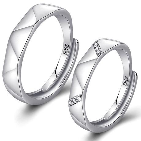 Qiao Lanxuan trang sức bạc nam nữ nhẫn nhẫn rhombohedron mở nhẫn phổ biến nhẫn sinh viên Hàn Quốc trang sức bán buôn Nhẫn