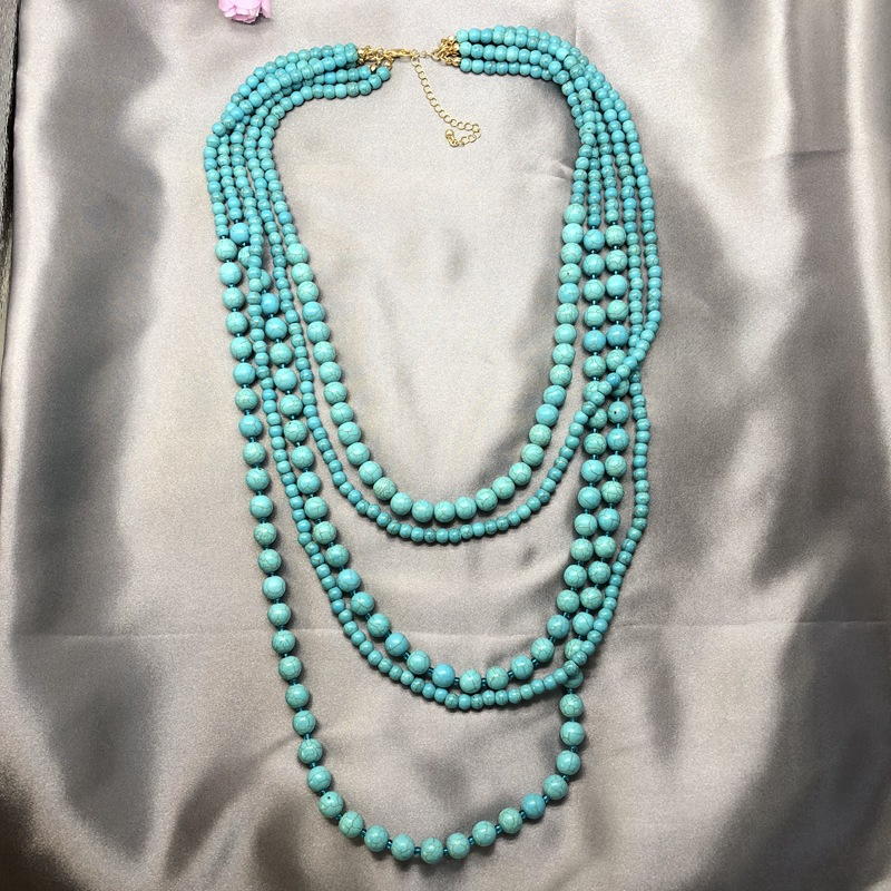 Natural Stone Necklace Multi-Level Turquoise Bead Necklace Summer Cool Stone Bead Necklace NHOM179812