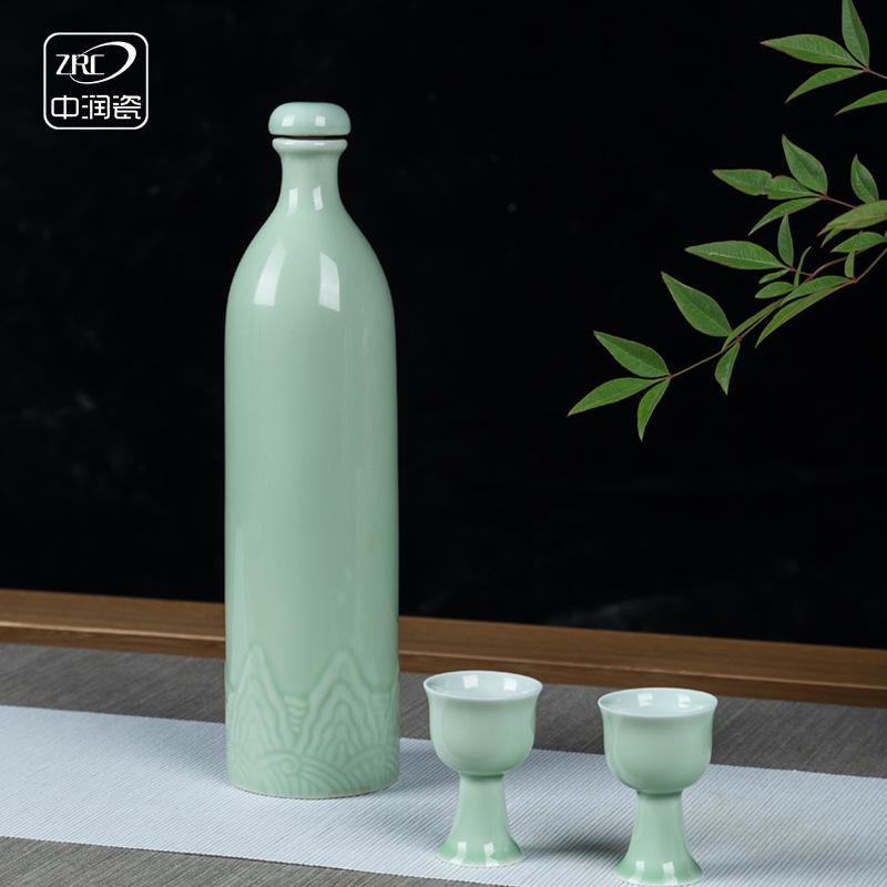 中式仿古青瓷酒瓶一斤装白酒瓶密封空酒瓶陶瓷小酒壶酒坛1斤批发
