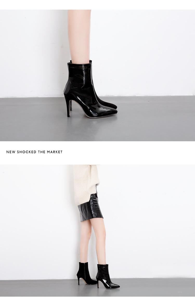 European and American wind suede stitching pointed high-heeled ankle boots NHSO154941