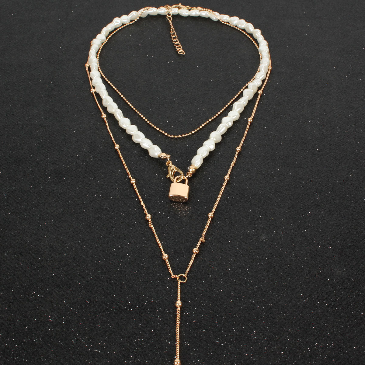 Shaped Pearl Necklace Personality Cute Lock Pendant Clavicle Chain Female NHCT177375