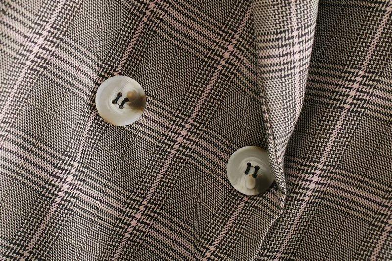 Wholesale loose version plaid retro small suit suit jacket NHAM192881