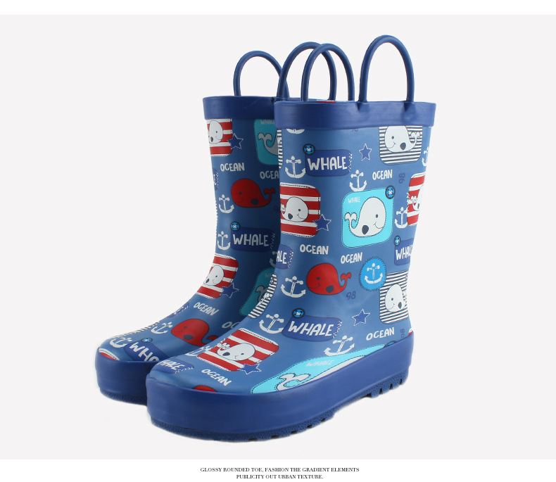 BAILI B302 Kids Cute Whale Rain Boots - With Handle for Boys / Girls 12