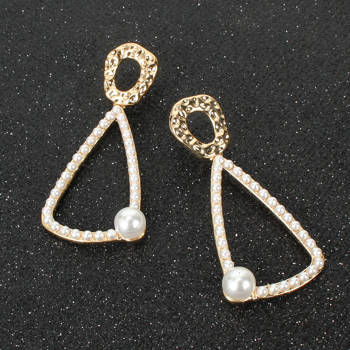 Earrings female geometric metal imitation pearl long earrings NHCT183778