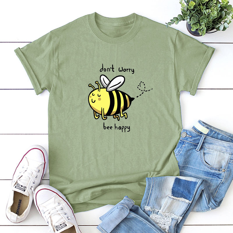 short-sleeved T-shirt cute bee cartoon plus size printing NSSN3369