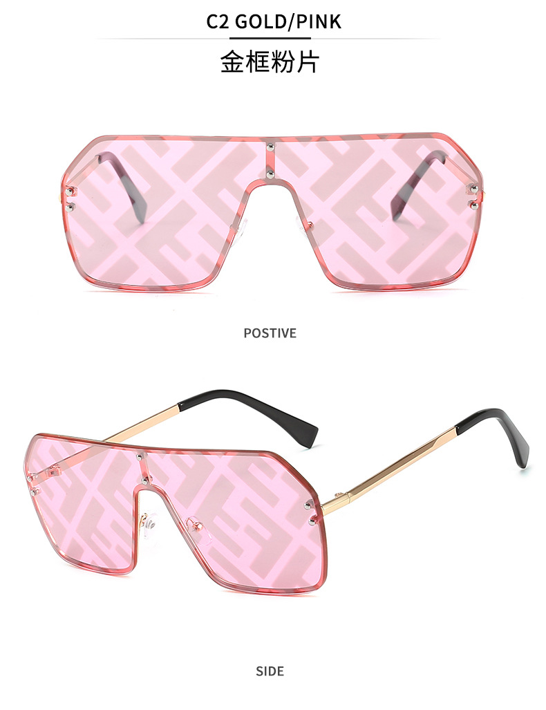 New metal F watermark coated one-piece sunglasses Men and women with the same paragraph colorful sunglasses