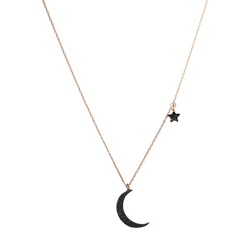 Womens star plating alloy  Simple natural fashion stars moon black rhinestone single layer Necklaces GY190505120138