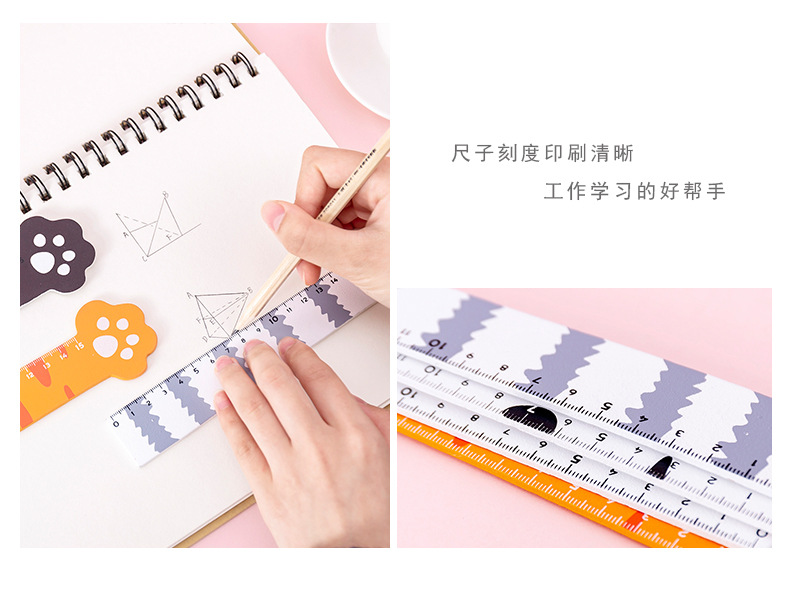 Cartoon animal cat claw 15cm ruler student multifunctional measuring drawing ruler girl learning stationery NHKU184758
