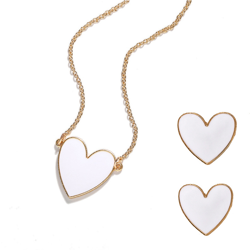 Fashion Heart Shaped Devi s Eyes Lips Necklace Earrings NHJQ150485