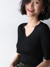 冰丝针织半袖女修身薄款v领机打?#21672;?#30701;袖黑色露锁?#24039;?#34915;夏