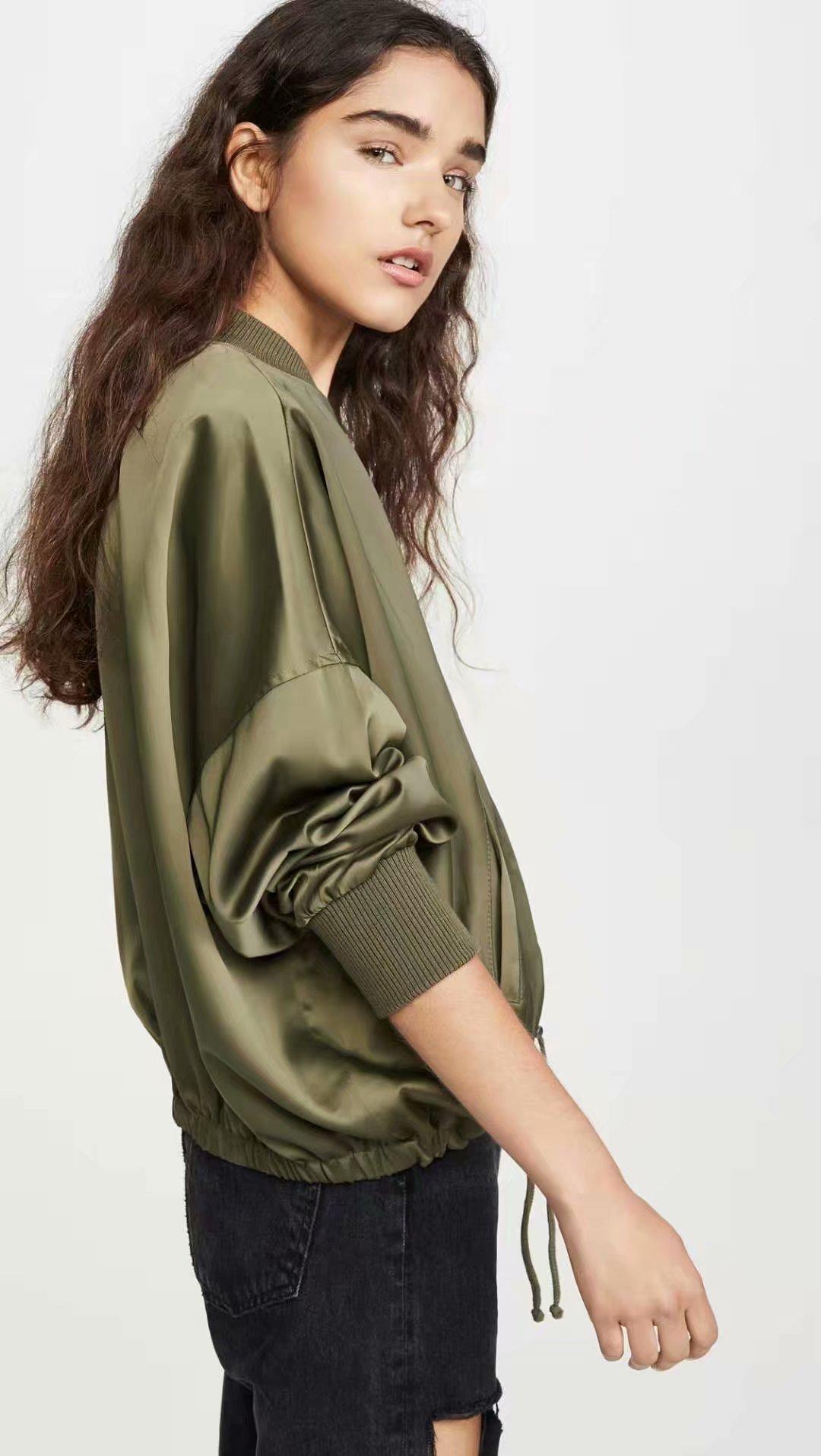 Wholesale Autumn Drawstring Elastic Hem Loose Jacket Slit Rib Collar Jacket NHAM182023