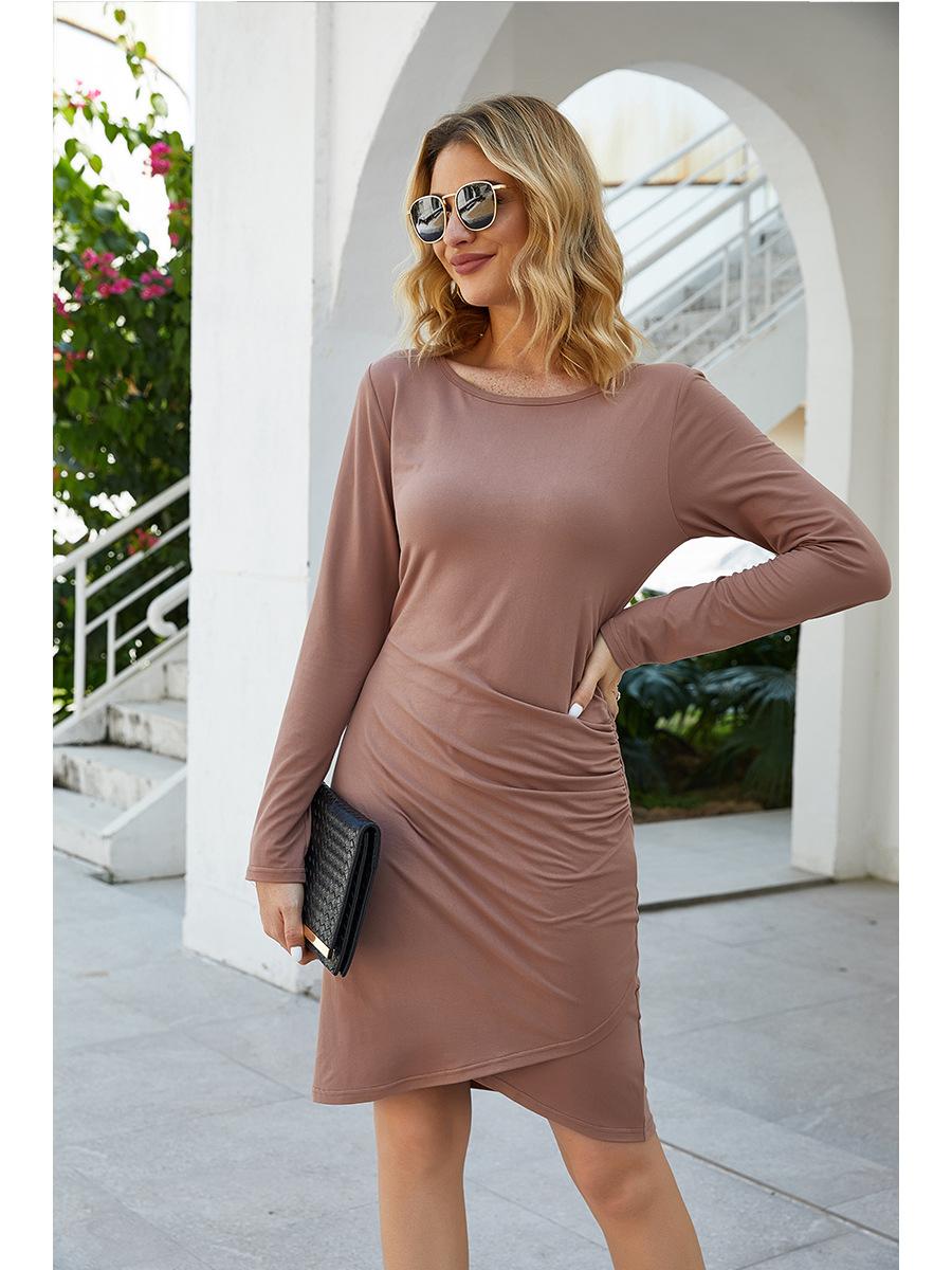 fashion light dress irregular long sleeve dress NSAL2866