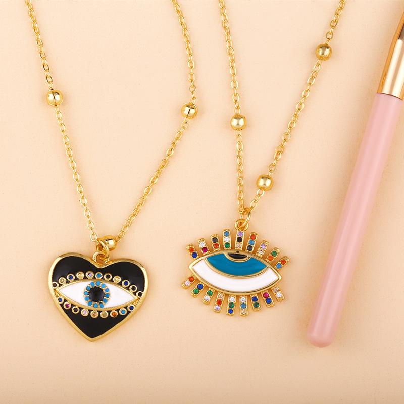 Fashion copper inlay zircon eye heart drop pendant necklace NHAS156968