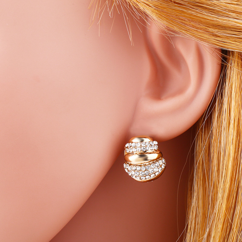 Simple electroplated color and rhinestone earrings NHAS134409