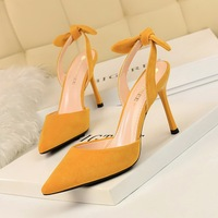 2136-3 Korean edition fashionable slim heel, super high heel, suede, shallow, pointed, hollowed-out, small bow-tied sandals