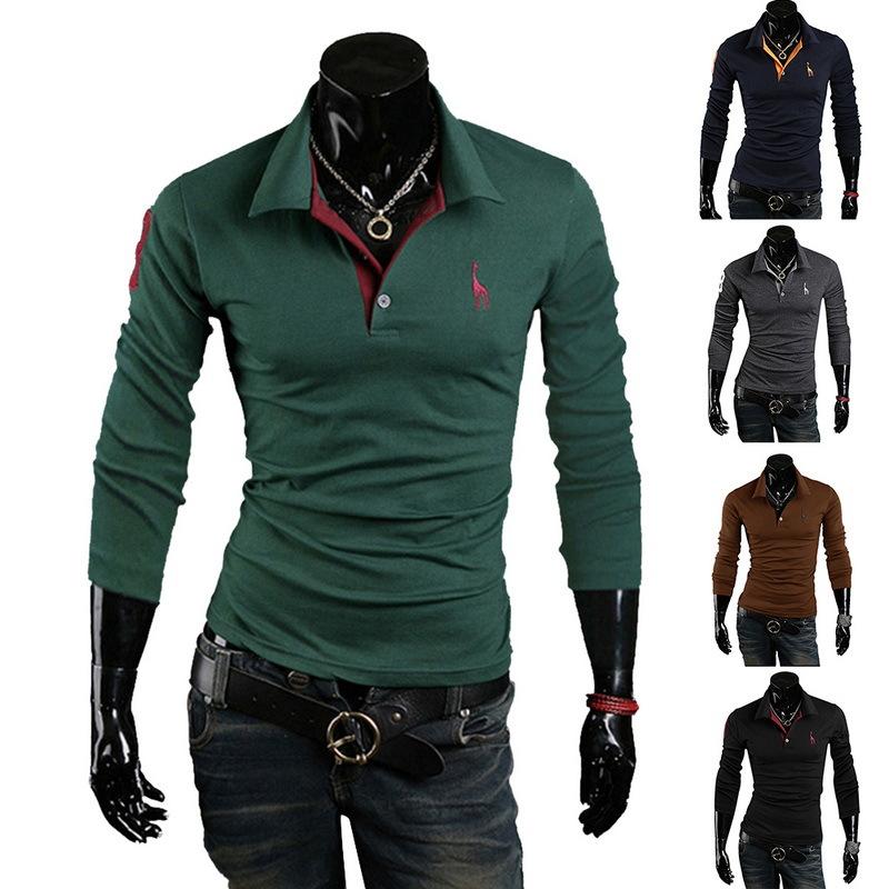 特价 热卖新款韩版男士刺绣半袖 春秋季修身长袖纯色翻领