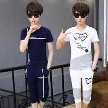 休闲套装男士韩版短袖T恤七分短裤两件套青少年学生韩版夏季套装